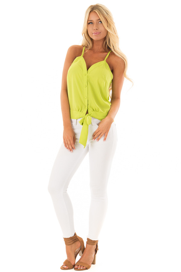 Lime Green Button Down Tank Top with Front Tie Detail front full body