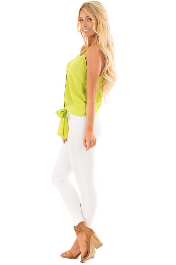 Lime Green Button Down Tank Top with Front Tie Detail side full body