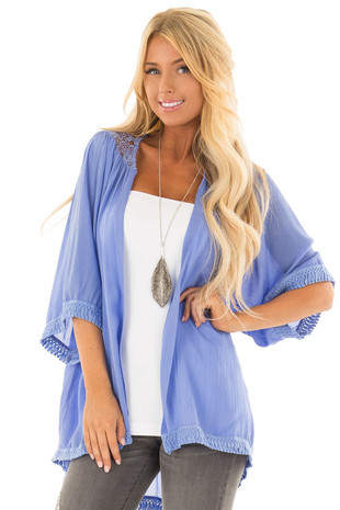 Faded Blue Short Sleeve Open Kimono with Crochet Details front closeup