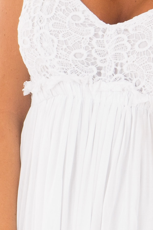 White Backless Dress with Crochet Bodice Detail front detail