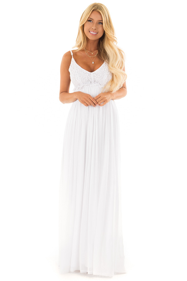 White Backless Dress with Crochet Bodice Detail front full body