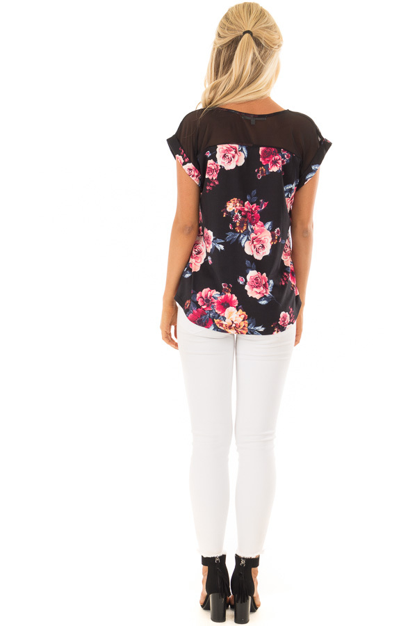 Black Floral Print Super Soft Tee with Mesh Contrast back full body