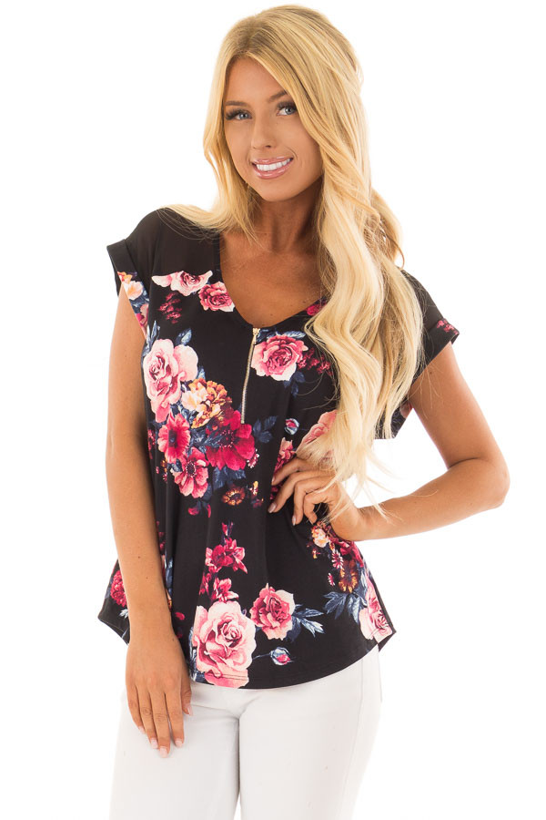 Black Floral Print Super Soft Tee with Mesh Contrast front closeup