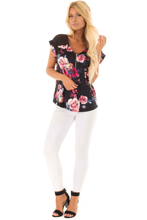 Black Floral Print Super Soft Tee with Mesh Contrast front full body