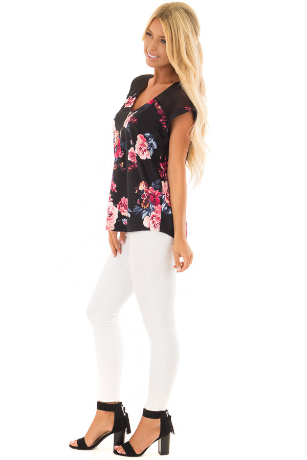 Black Floral Print Super Soft Tee with Mesh Contrast side full body
