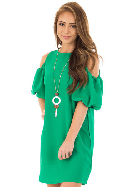 Kelly Green Cold Shoulder Dress with Bubble Sleeves front closeup