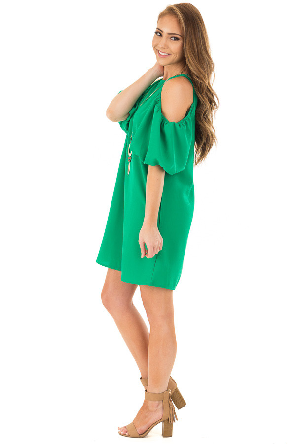 Kelly Green Cold Shoulder Dress with Bubble Sleeves side full body