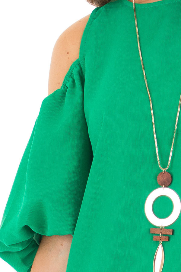 Kelly Green Cold Shoulder Dress with Bubble Sleeves front detail