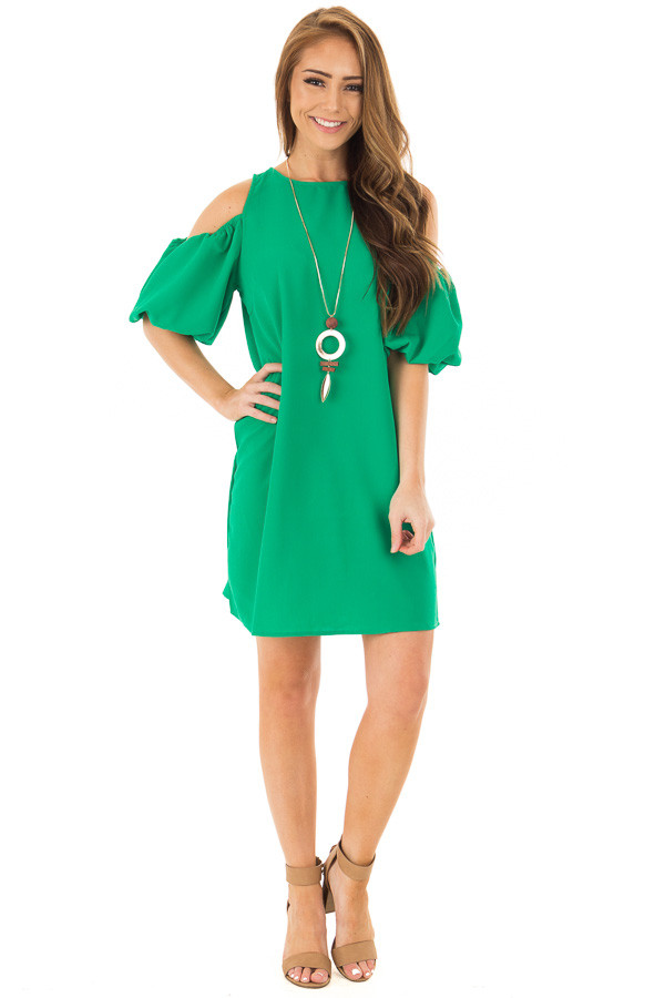 Kelly Green Cold Shoulder Dress with Bubble Sleeves front full body
