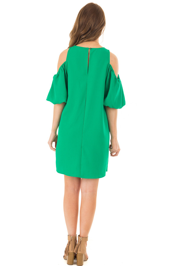 Kelly Green Cold Shoulder Dress with Bubble Sleeves back full body