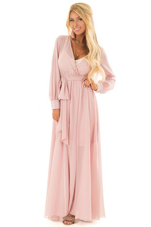 Dusty Pink Long Sleeve with Waist Tie Detail front full body