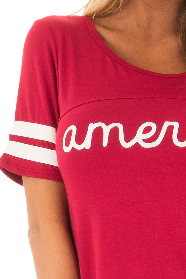 Scarlet Red 'America' Varsity Striped Comfy Tee front detail
