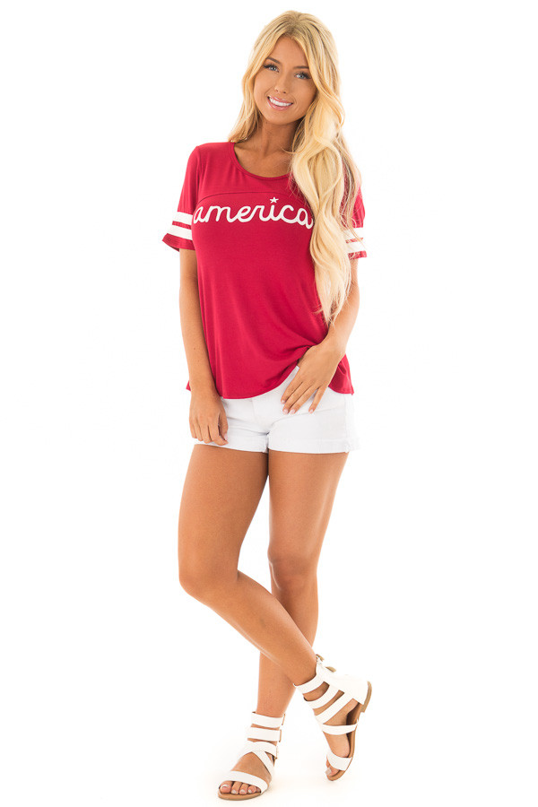 Scarlet Red 'America' Varsity Striped Comfy Tee front full body
