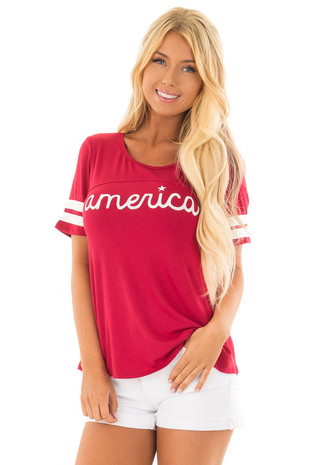 Scarlet Red 'America' Varsity Striped Comfy Tee front closeup