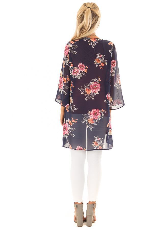 Navy Floral Print Open Front Kimono back full body