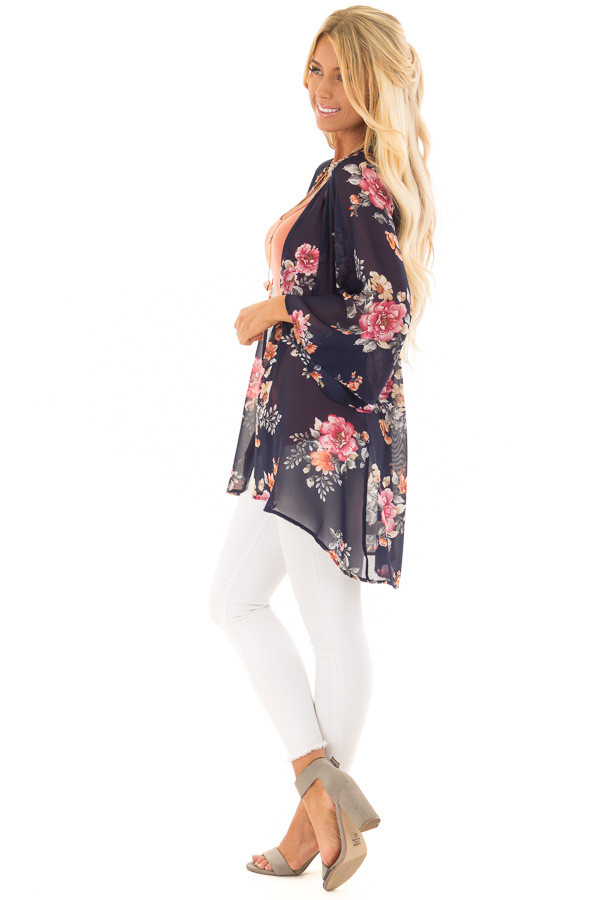 Navy Floral Print Open Front Kimono side full body