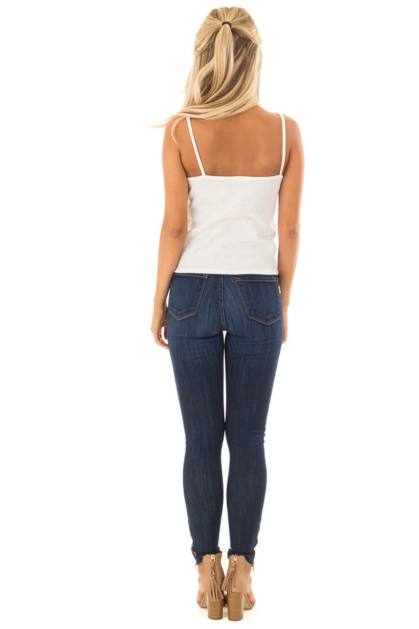 Off White Ribbed Tank Top with Front Tie back full body