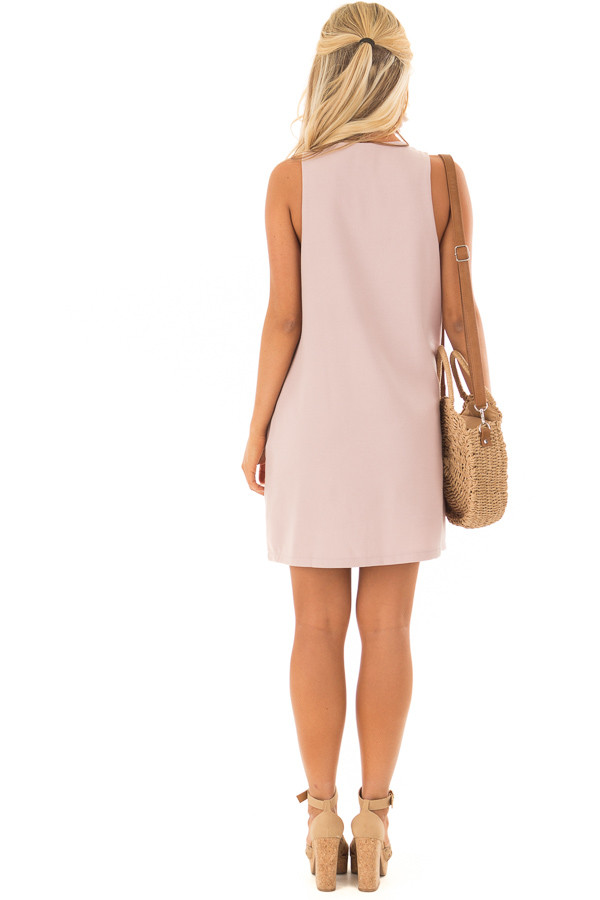 Dusty Mauve Sleeveless Dress with Embroidery Detail back full body