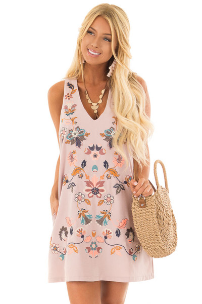 Dusty Mauve Sleeveless Dress with Embroidery Detail front closeup