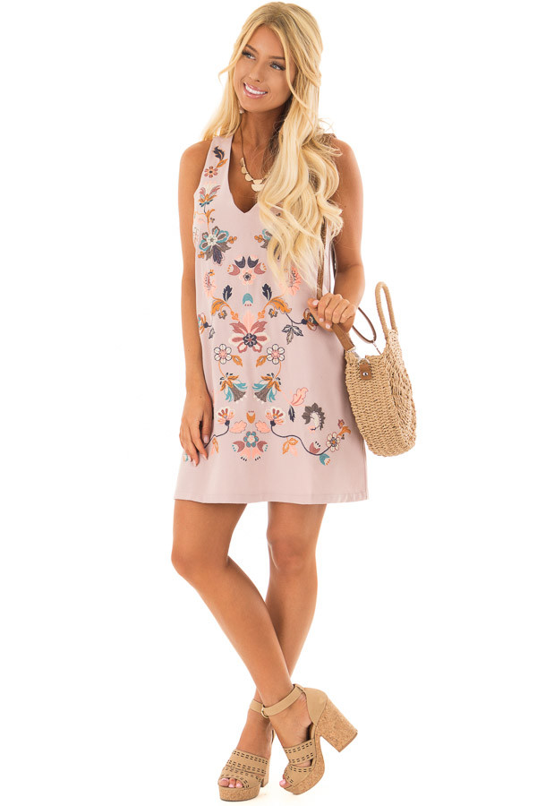 Dusty Mauve Sleeveless Dress with Embroidery Detail front full body