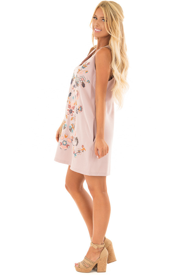 Dusty Mauve Sleeveless Dress with Embroidery Detail side full body