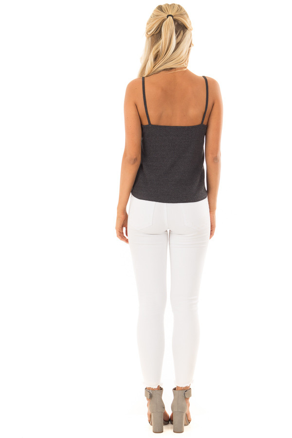Charcoal Ribbed Tank Top with Front Tie back full body