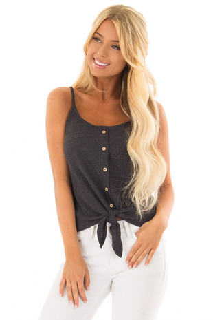 Charcoal Ribbed Tank Top with Front Tie front closeup