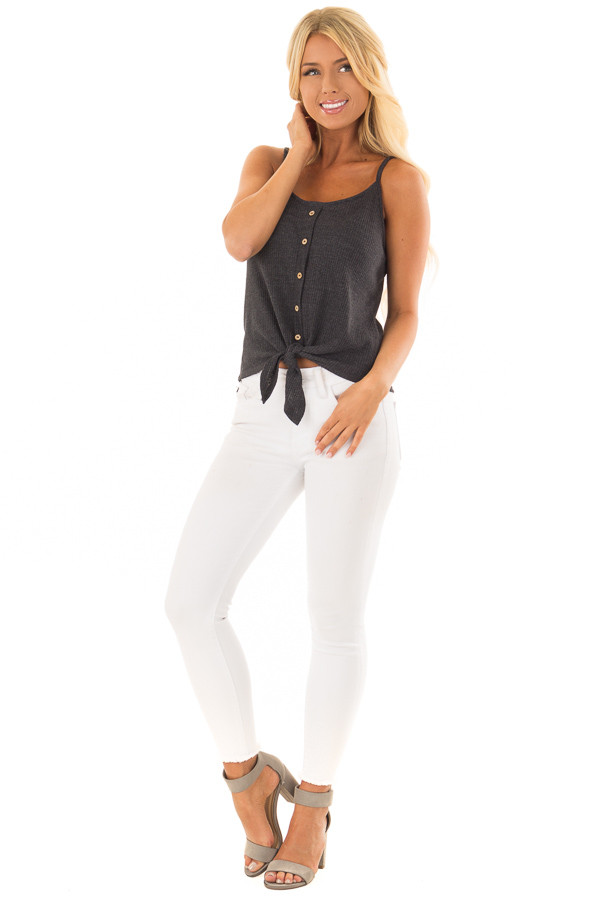 Charcoal Ribbed Tank Top with Front Tie front full body