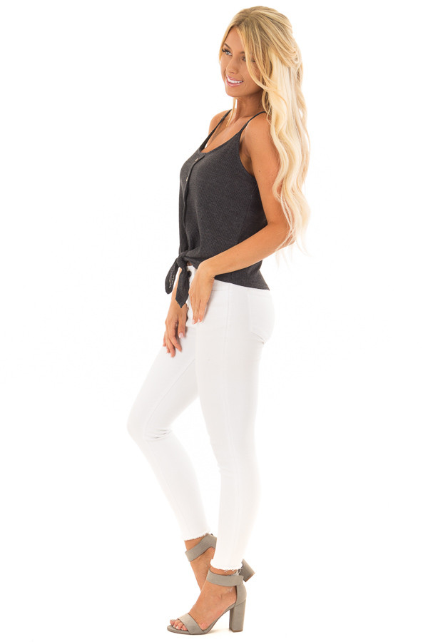 Charcoal Ribbed Tank Top with Front Tie side full body
