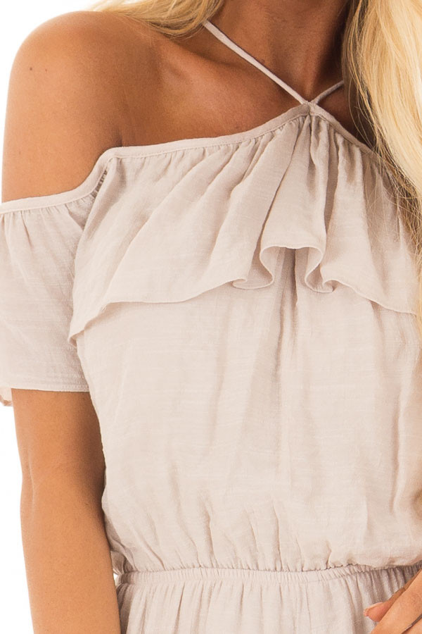 Natural Halter Romper with Ruffle Overlay Detail front detail