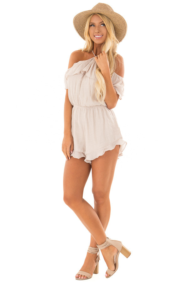 Natural Halter Romper with Ruffle Overlay Detail front full body