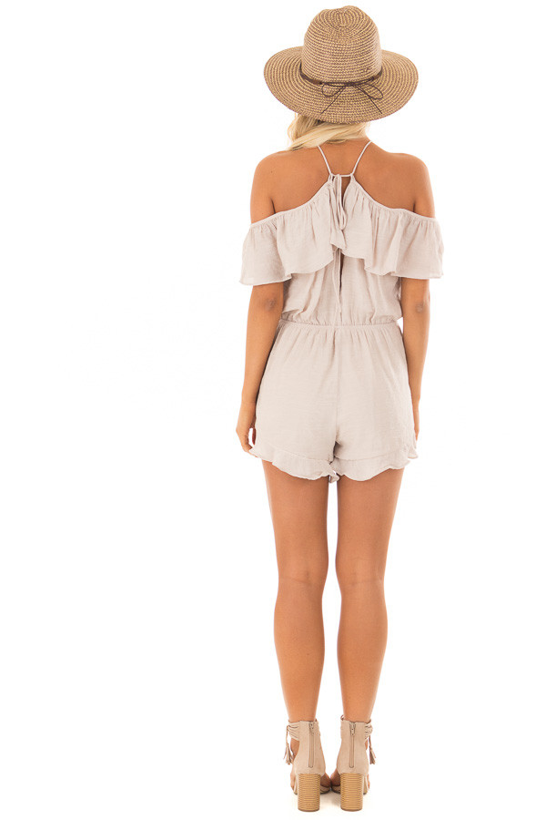 Natural Halter Romper with Ruffle Overlay Detail back full body