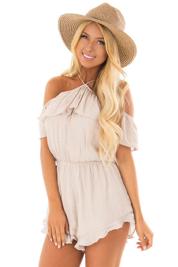 Natural Halter Romper with Ruffle Overlay Detail front closeup