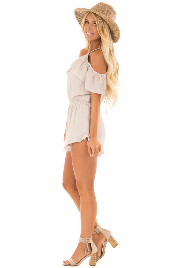 Natural Halter Romper with Ruffle Overlay Detail side full body