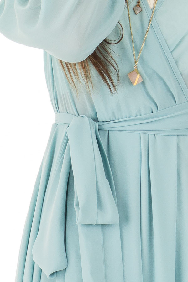 Blue Bell Long Sleeve with Waist Tie Detail front detail