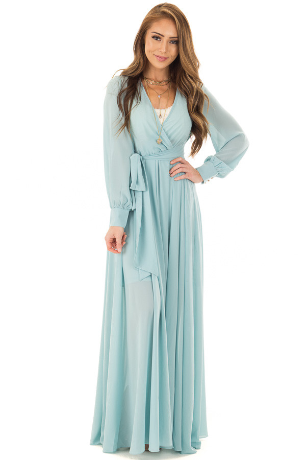 Blue Bell Long Sleeve with Waist Tie Detail front full body