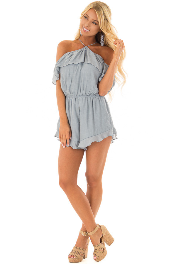 Dusty Blue Halter Romper with Ruffle Overlay Detail front full body