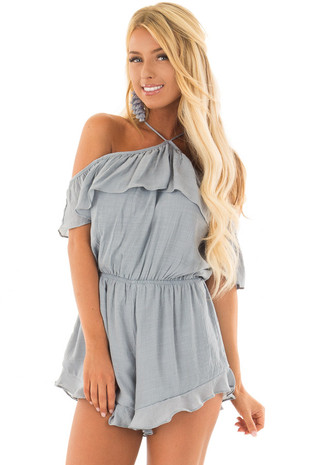 Dusty Blue Halter Romper with Ruffle Overlay Detail front closeup