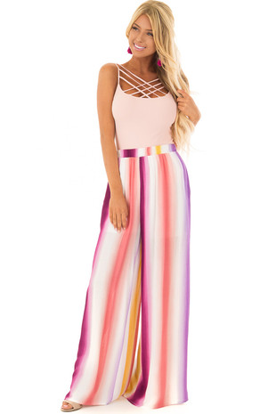 Multicolor Striped Comfy Pants with Side Pockets front full body