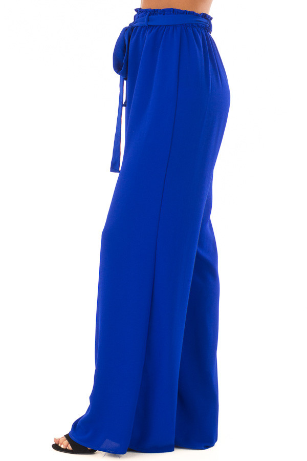 Royal Blue High Waisted Woven Pants with Tie Detail left side