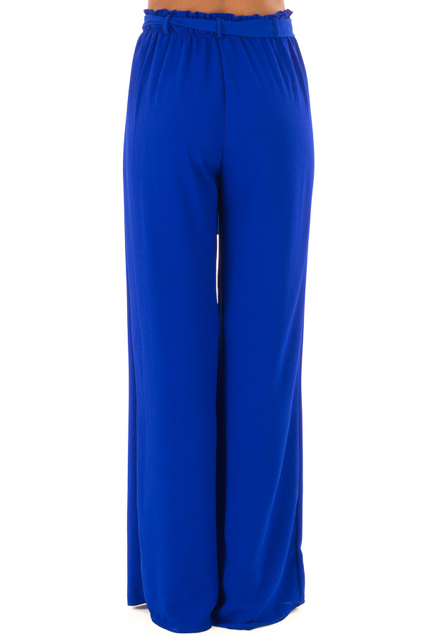 Royal Blue High Waisted Woven Pants with Tie Detail back