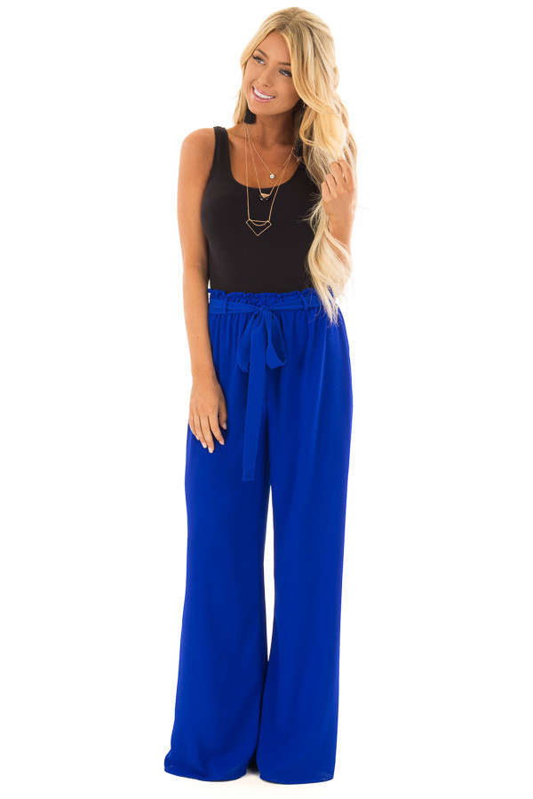 Royal Blue High Waisted Woven Pants with Tie Detail front full body