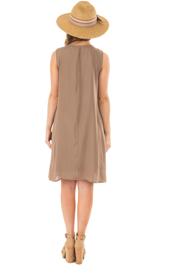 Olive Sleeveless Embroidered Dress with Side Pockets back full body