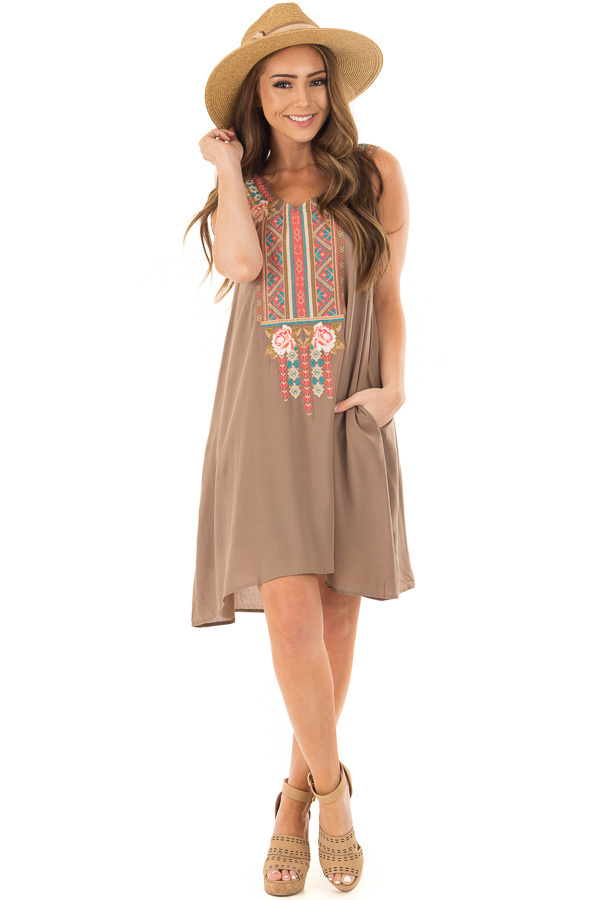Olive Sleeveless Embroidered Dress with Side Pockets front full body