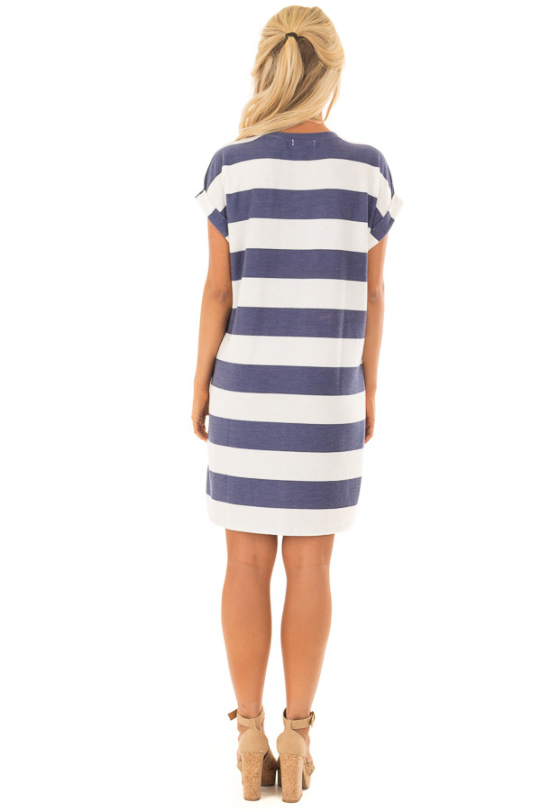 Navy and White Striped Dress with Hidden Pockets back full body