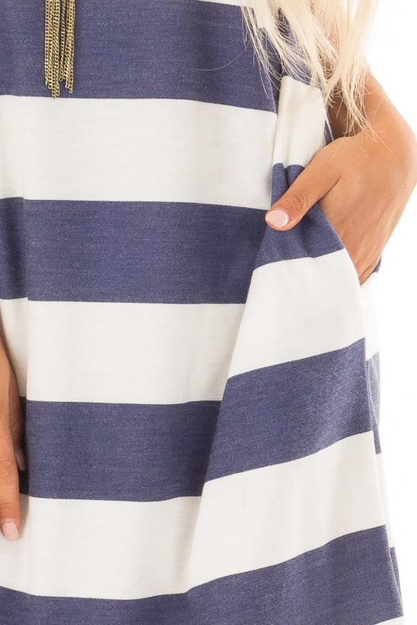 Navy and White Striped Dress with Hidden Pockets front detail