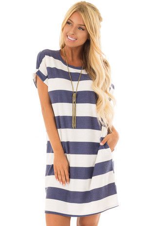 Navy and White Striped Dress with Hidden Pockets front closeup