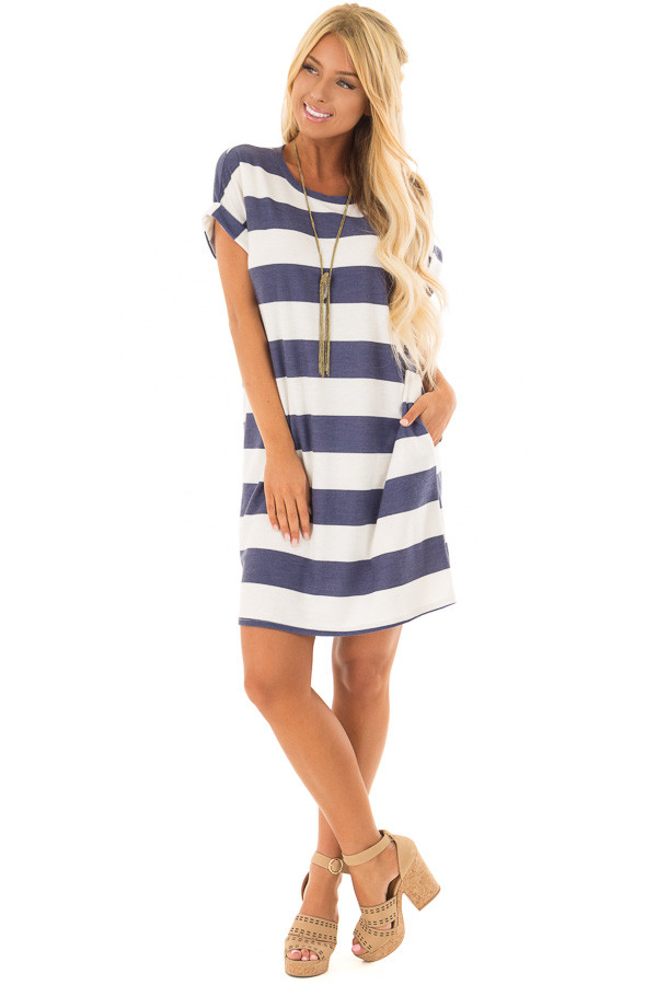 Navy and White Striped Dress with Hidden Pockets front full body