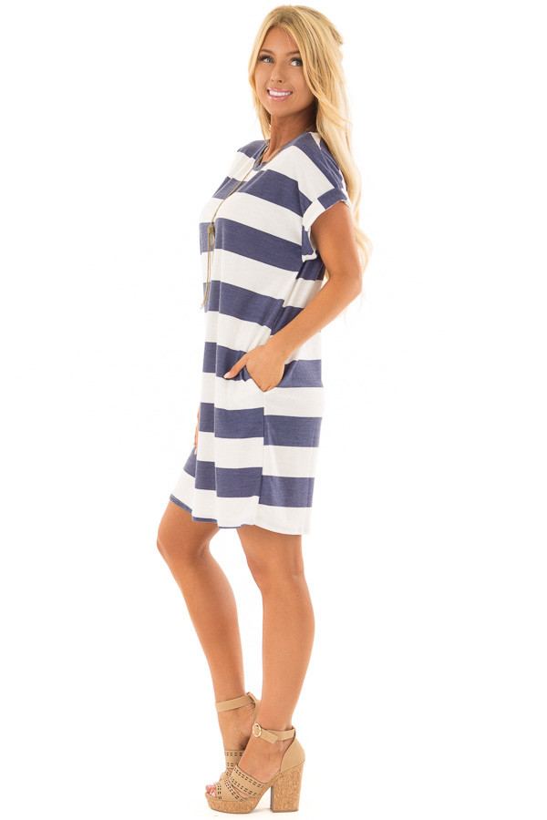 Navy and White Striped Dress with Hidden Pockets side full body