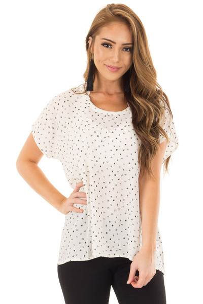White Scoop Neck Polka Dot Top front close up